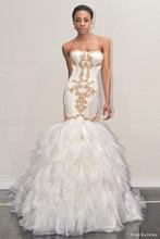 Luxury Sweetheart Mermaid Wedding Dress Sexy Strapless Chapel Train Tiered Gold Applique Vestido De Noiva NM