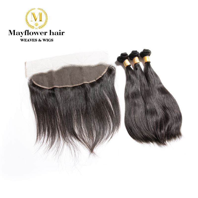 """MFH Funmi Straight Hair 2/3 Bundles With 13x4"""" Frontal Double Drawn Remy Hair Natural Black  8-20"""" Mixed Length Free Shipping"""