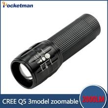 Продвижение 90% off фонарик Lanterna Cree Q5 светодиодный Фонарик 2000 люмен Масштабируемые Черный Мини СВЕТОДИОДНЫЙ Фонарик фонарь свет велосипеда