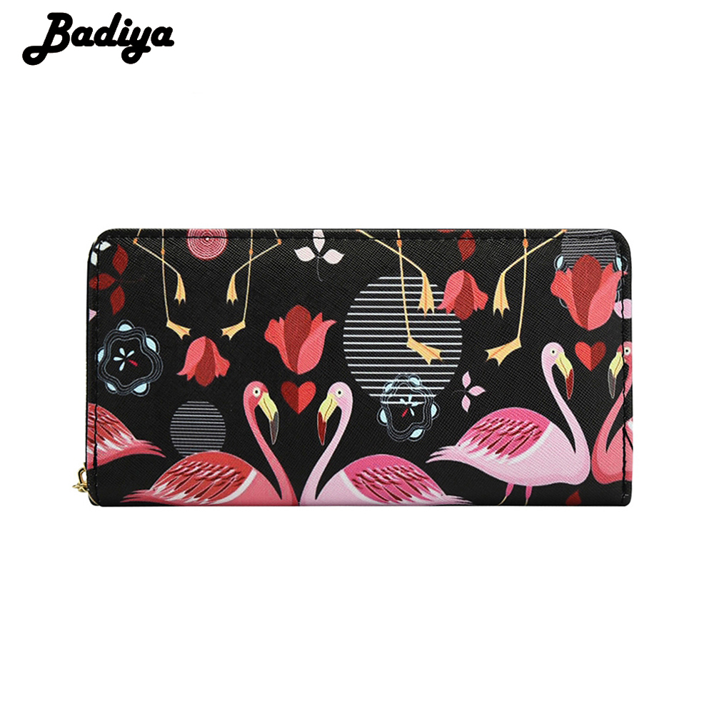 PU Leather Women Wallets Long Rose Swan Fashion Prints Money Coins Pocket Female Clutches Phone Bag Purse Cards Holder Carteira