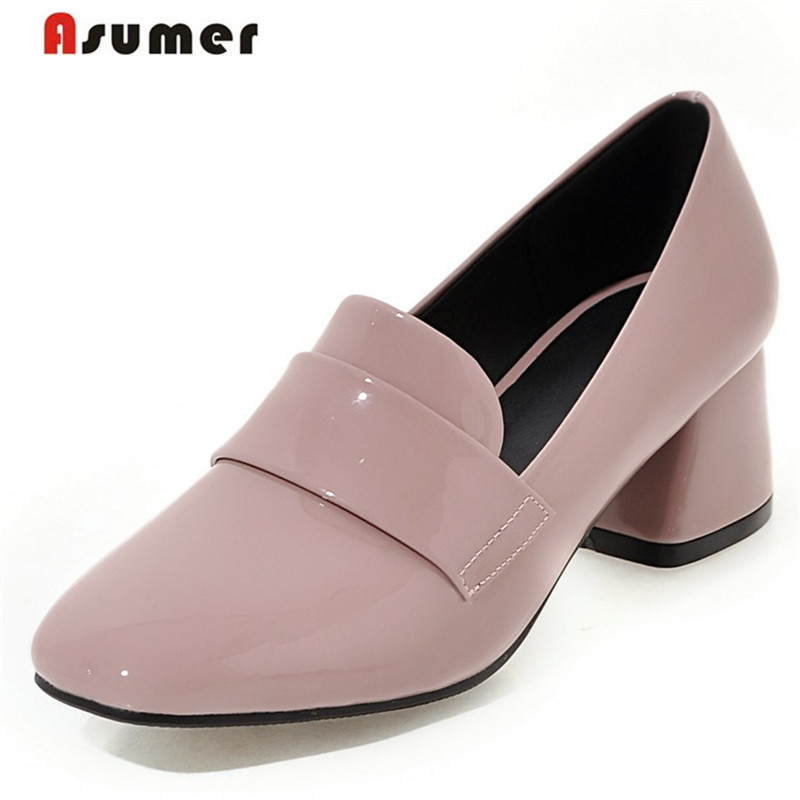 Asumer Square high heels shoes women patent leather pumps four seasons single shoes work office lady shallow fashion цена 2017