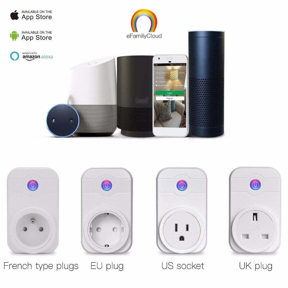 Wifi Prise Intelligente Domotique Téléphone App Timing Interrupteur Télécommande 100-240 V Wifi Prise de Travail avec Amazon Alexa et Google