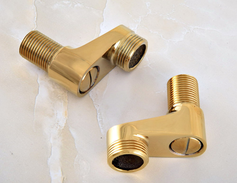 Discount Bathroom Faucets Polished Brass Pull Out Sprary Gold: 2 Pcs Polished Gold Color Brass Claw Foot Bathtub Faucet