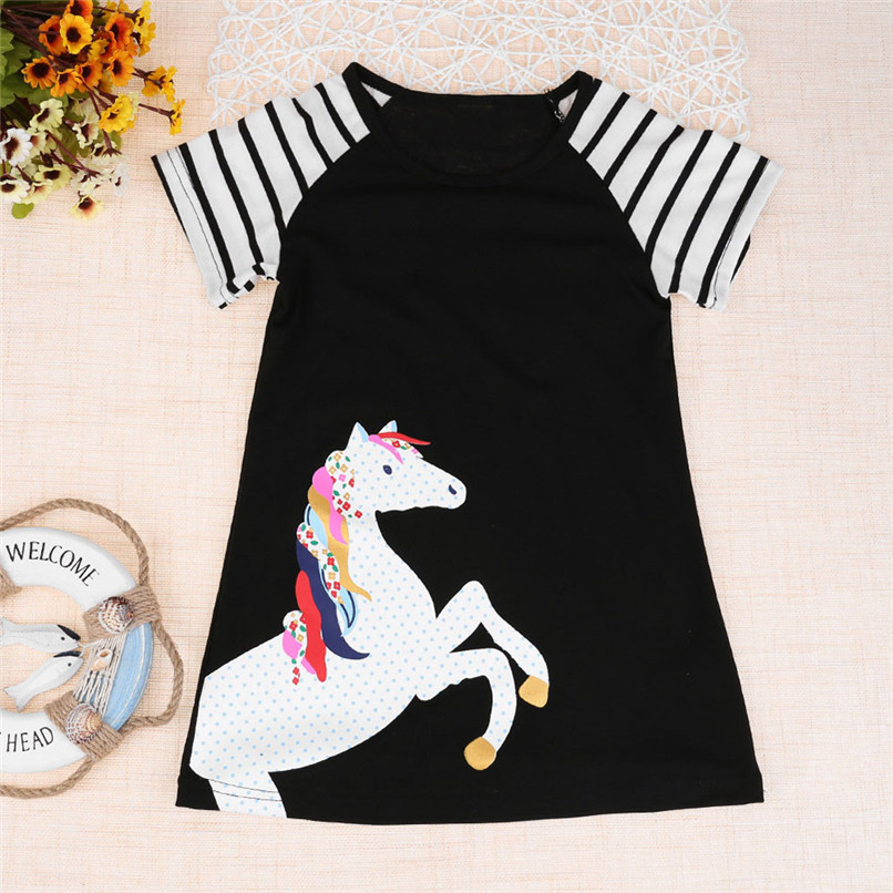 Summer Girls Dress Fashion Toddler Kids Baby Girls Short Sleeve Animal Horse Printing Party Dress Outfits Clothes M8Y08