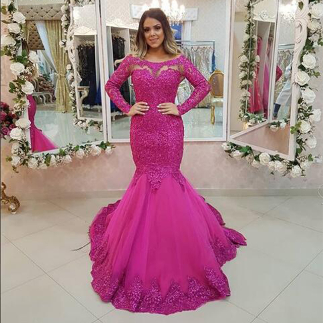 Alexzendra Hot Pink Mermaid Formal Evening Dress 2019 Long Sleeves Illusion  Back Prom Dresses Plus Size Special Party Dresses c7948ebce095