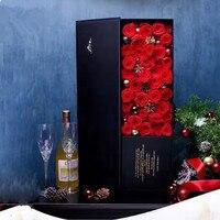Розы коробке толстый картон букет Подарочная коробка подарок на день Святого Валентина День матери Свадебные украшения цветок 6 шт. за лот