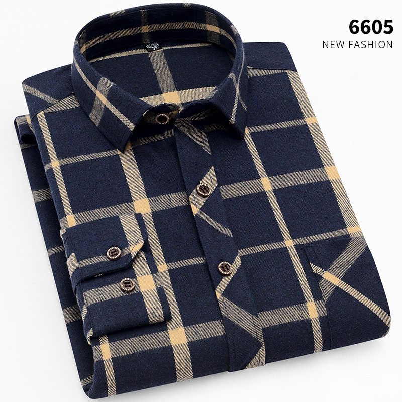 AOLIWEN2019New Men's Plaid Fashion Long Sleeve Shirt Comfortable and stylish fit multiple colour summer shirt Plaid sanded shirt title=