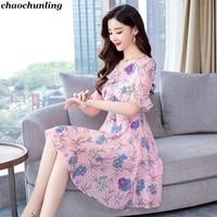 2018 Summer New Lady V Neck Temperament Dress Korean Fashion Women Lotus Leaf Sleeve Printing Chiffon Sexy Dress Pink Color 2018