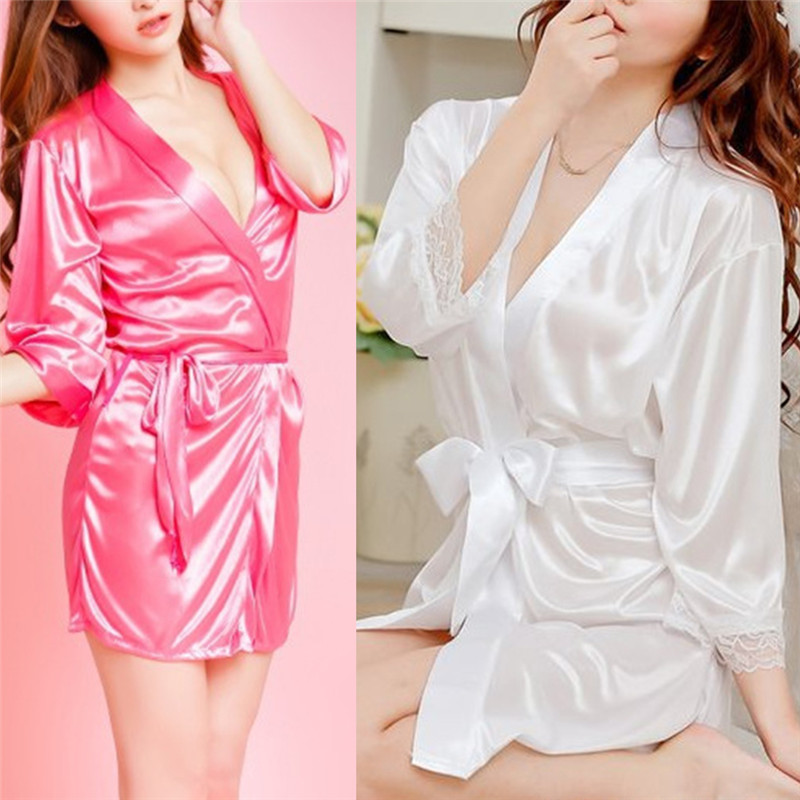 Sexy Women Satin Soft Nightgown Lingerie Nightdress Female Sleepwear Robe Night Suits Satin Robe Black White Rose