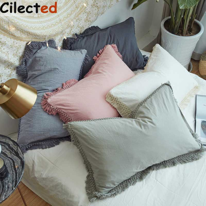 Cilected Pink Pillow Case With Tassels Solid Cotton Pillow Cover Bedding Soft Quality Sleeping Pillow Protector 1pc 48*74cm tassels pillow