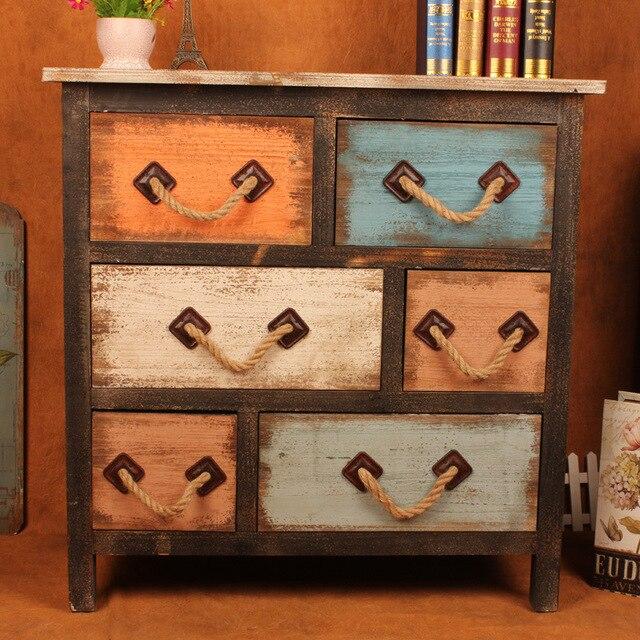 Retro americana a hacer el viejo multi-drawer gabinetes cubo de ropa armario armario decorativo pintura venta al por mayor residencial En