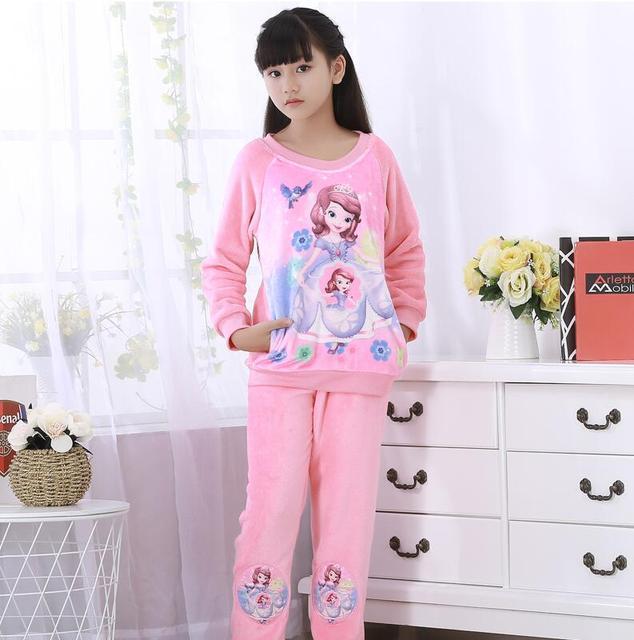 9eada44fd2308 2019 enfants pijamas Homewear hiver enfants polaire pyjamas chaud vêtements  de nuit en flanelle filles garçons