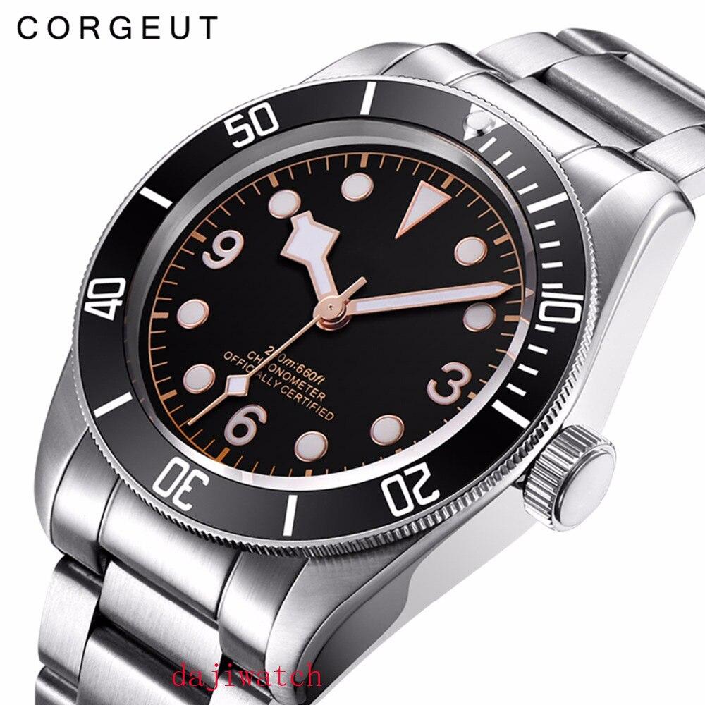 Механические часы Corgeut, светящиеся сапфировые Schwarz Bay, мужские автоматические спортивные часы для плавания, роскошные Брендовые мужские мех... - 2