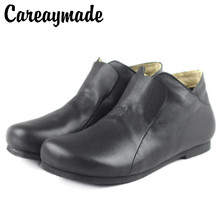 Careaymade-Genuine leather Black shoes,Pure handmade ankle boots,The retro art mori girl shoes,Fashion retro woman warm boots