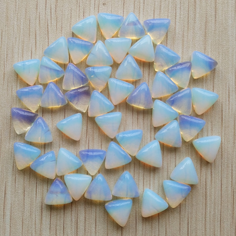 wholesale 50pcs/lot 2017 fashion high quality opal stone triangle cab cabochon beads 10x10x10mm for jewelry making free