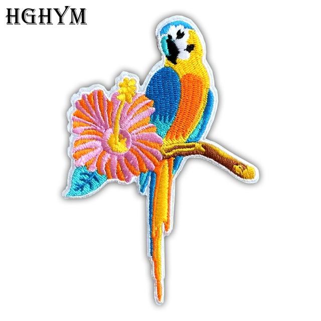 Aves Moda HGHYM Patches 8x11 cm Loro Bordado Apliques De Hierro En ...
