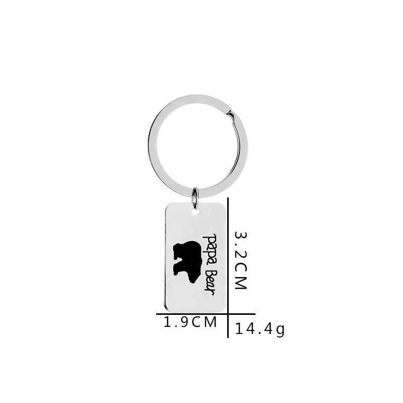 אבא דוב מחזיקי מפתחות גדול דוב פאפא אמייל מפתח טבעת שחור כלב תג משפחה סדרת רכב מפתח מחזיק מתנה עבור אבא נכד