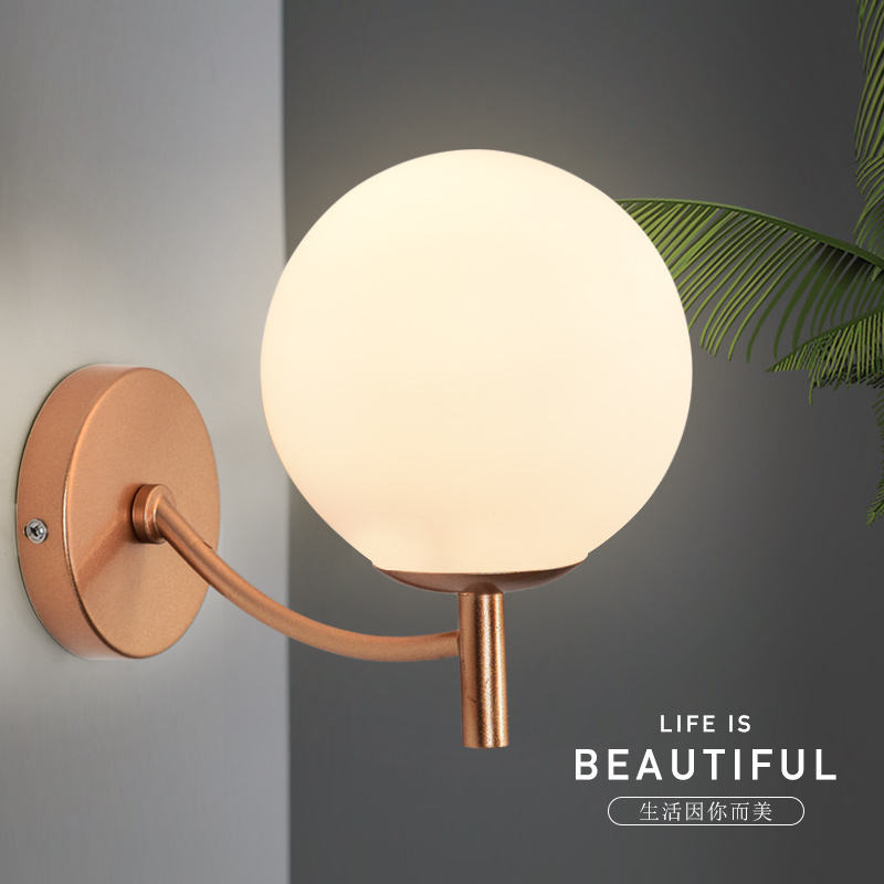 LED bedside wall lamp modern bedroom lamp gold retro hotel wall lamps room corridor entrance corridor wall light ZA913414 modern wooden led wall lamp bed room bedside natural solid wood white glass bedroom bedside aisle corridor entrance wall sconce