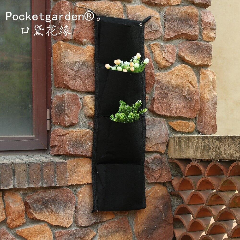 5 pcs 4 Pocket Hanging Vertical Garden Wall Planter - for herbs lettuce flowers ferns planting bag wall 4 strawberry grow bag