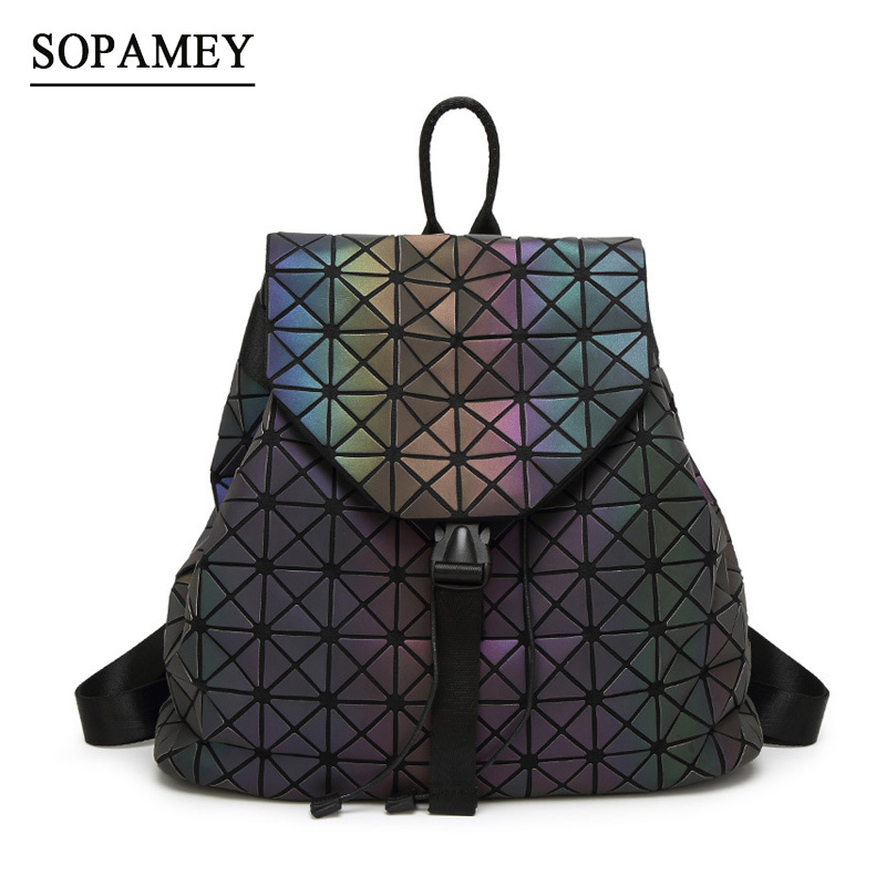 все цены на Bao Bag Women Backpacks Geometric Shoulder Bag back pack Students School Bag Hologram Luminous backpack Laser Silver Backpack