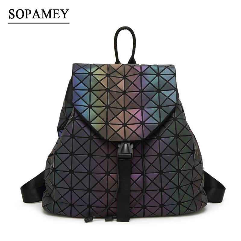 Bao bao Women Laser Backpack Geometric Shoulder Bag Student's School Bag Hologram Luminous backpack Laser silver baobao backpack