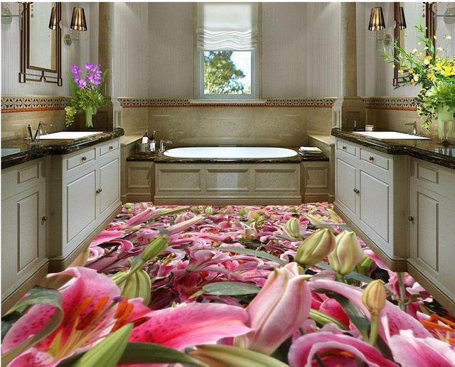 Romantische tulp bloemen custom foto zelfklevende 3d floor pvc