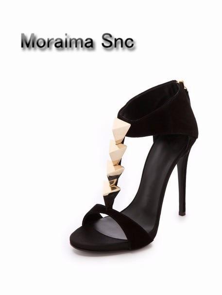 Moraima Snc Peep toe high heel sandals black high quality pump for woman in summer black zipper big metal rivets decor shoes