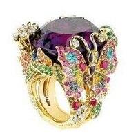 2017 ювелирные изделия QI Xuan_Fashion Jewelry_Luxury фиолетовый камень бабочка бренда Rings_S925 чистого серебра Rings_Factory непосредственно продаж