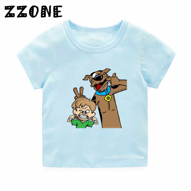 Children Cartoon Print Scooby Doo And Shaggy Funny T shirt Kids Summer Tees Boys/Girls Tops Baby Clothes,5086A