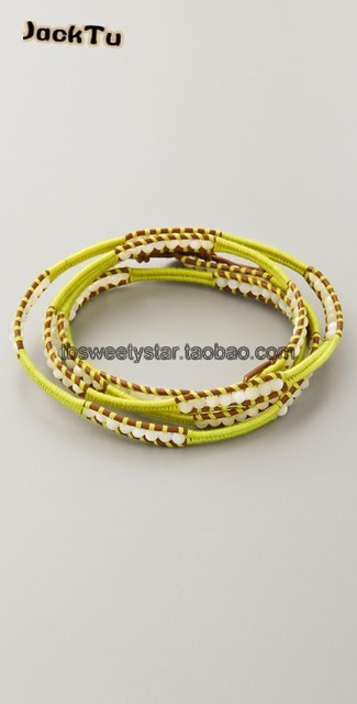 2017 mother of pearl beads on gold cotton cord leather bracelet wrap women