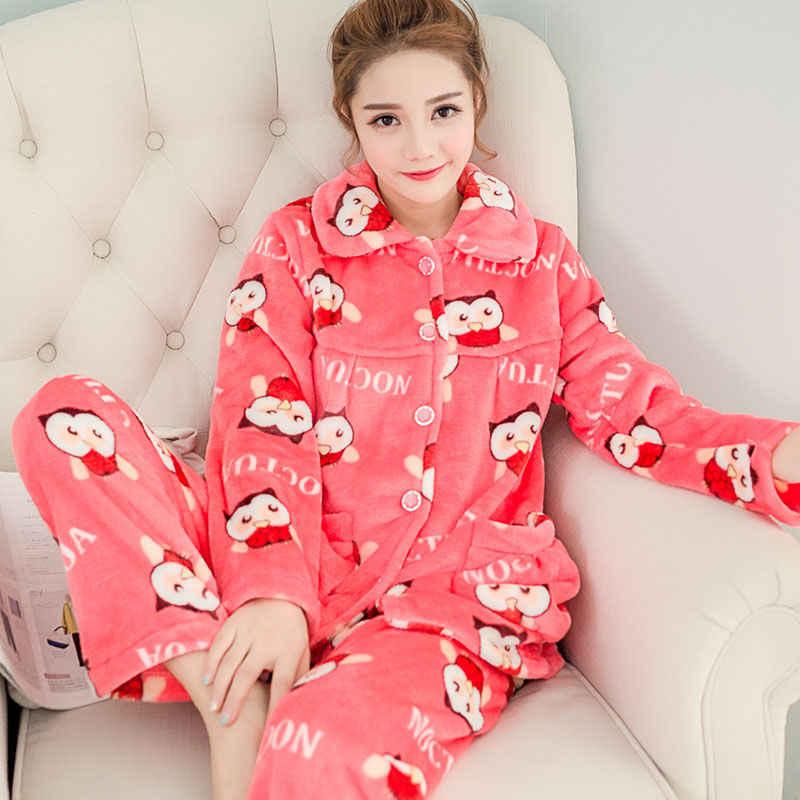 2019 אופנה סתיו חורף נשים עבה פלנל פיג 'מה בית חם אלמוגים חליפת בעלי החיים פיג הלבשת בית בד