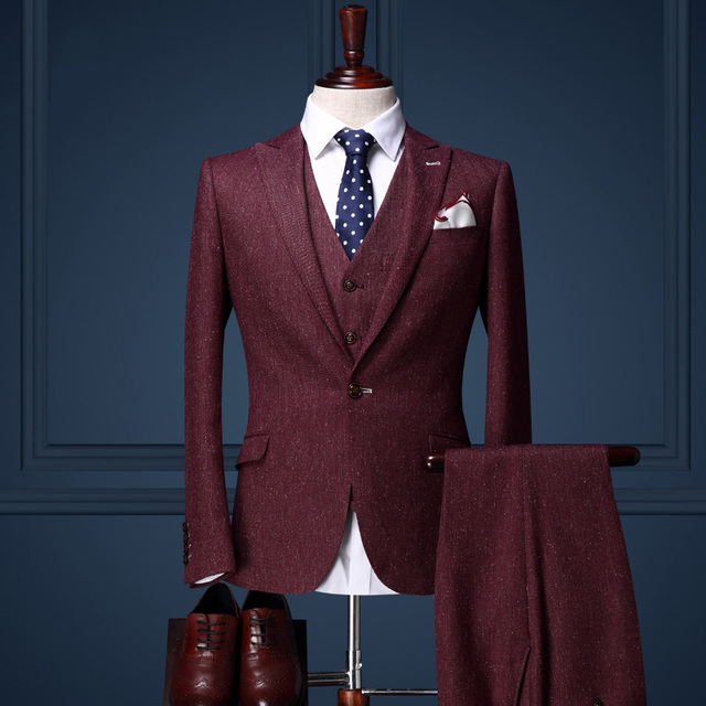 Carjerin men clothing men suits for wedding Burgundy formal tuxedo slim fit groom suit set single button suit coat/pant/vest