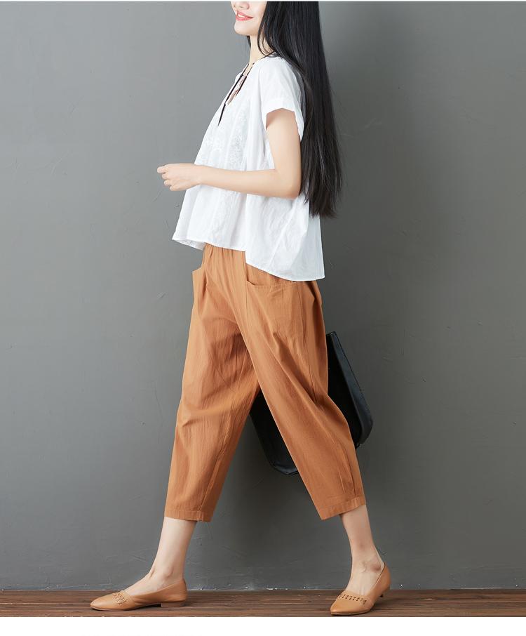 Summer Elastic Waist Cotton Linen Pocket Harem Pant Vintage Loose Mori Girl Oversized Home Tracksuit Plus Size Trouser Workout 56