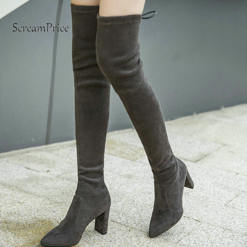 Winter Suede Sqaure High Heel Woman Over The Knee Stretch Boots Fashion Lace Up Party Thigh Boots Black Pink Gray Drak Gray