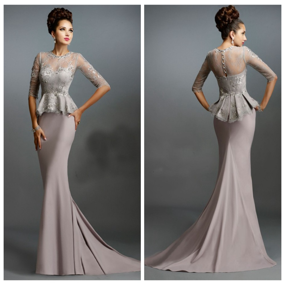 Half Sleeve Lace Applique Ruched Gray Evening Dresses Satin ...