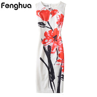 Fenghua Summer Dress Women 2017 Casual Plus Size Pencil Bodycon Office Dress Sleeveless Floral Print Party