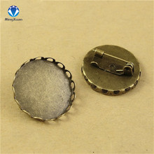 MINGXUAN 10pcs/lot Vintage Bronze Round Blank Metal Setting Bezel Blank Base Cabochon Brooch with Inner Dia 30mm C745
