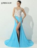 2019 новая синяя юбка с разрезом вечернее платье с кристаллами бисером Vestido Longo longo с открытой спиной Вечерние платья