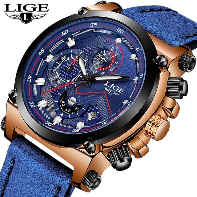 أفضل العلامة التجارية الفاخرة LIGE جديد رجال الأعمال ساعات كوارتز الرجال عادية العسكرية مقاوم للماء والجلود الرياضة ساعة معصم Relogio Masculino
