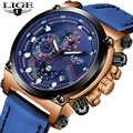 Top Luxury Brand LIGE New Men Business Quartz Watches Men Casual Military Waterproof Leather Sport Wrist Watch Relogio Masculino