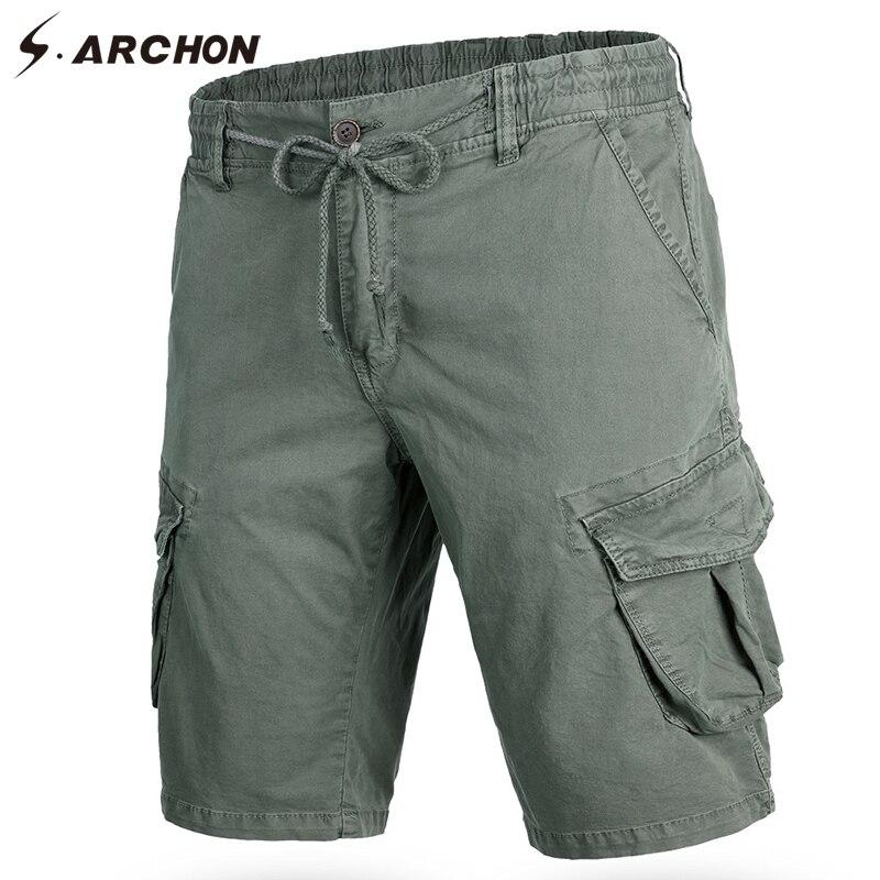 S.ARCHON Summer Men Casual Shorts Rope Elastic Waist Military Tactical Combat Cargo Shorts Vintage Work Shorts Male Khaki Black