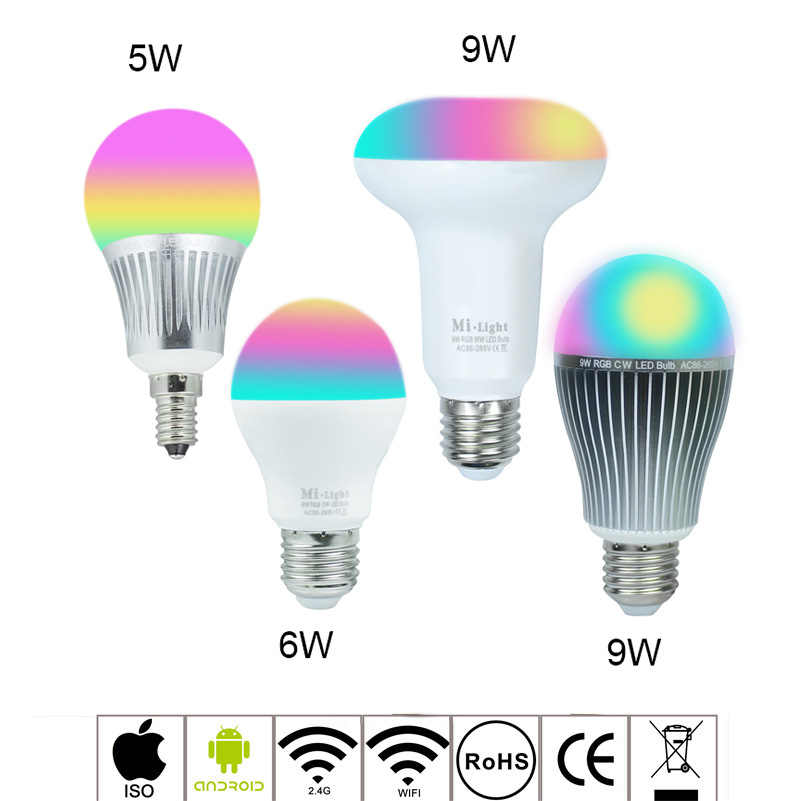 2.4G wireless Mi Light RGBW RGBWW dimmable LED Bulb 5W 6W 9W AC85-265V E14 E27 Par30 Led Lamp Wifi Control Led light dimmable mi light 2 4g gu10 5w color temperature adjustable dual white cw ww led bulb lamp ac85 265v 110v 220v wifi compatible