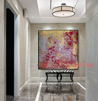 Handmade Modern Abstract New Style Colorful Art Acrylic Picture Wall Decorative 100 Hand Painted Gold Red
