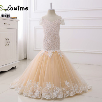 Mermaid Flower Girl Dress Lace First Communion Dresses For Girls Cap Sleeve Champagne Kids Evening Gowns Vestido Longo
