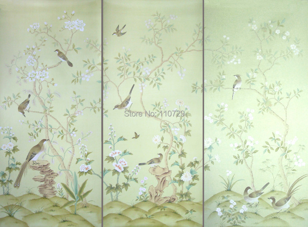 Europe style Hand painted silk wallpaper HAND-PAINTED painting flowers with birds wallcovering many pictures/background optional