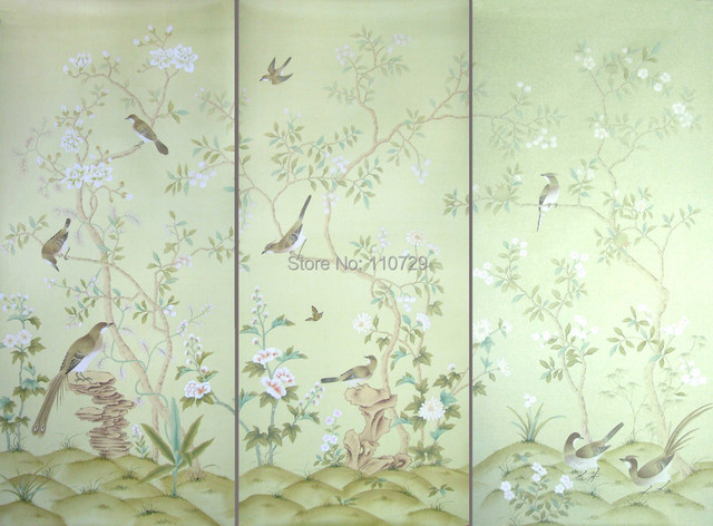 Europe Style Hand Painted Silk Wallpaper HAND PAINTED Painting Flowers With Birds Wallcovering Many Pictures