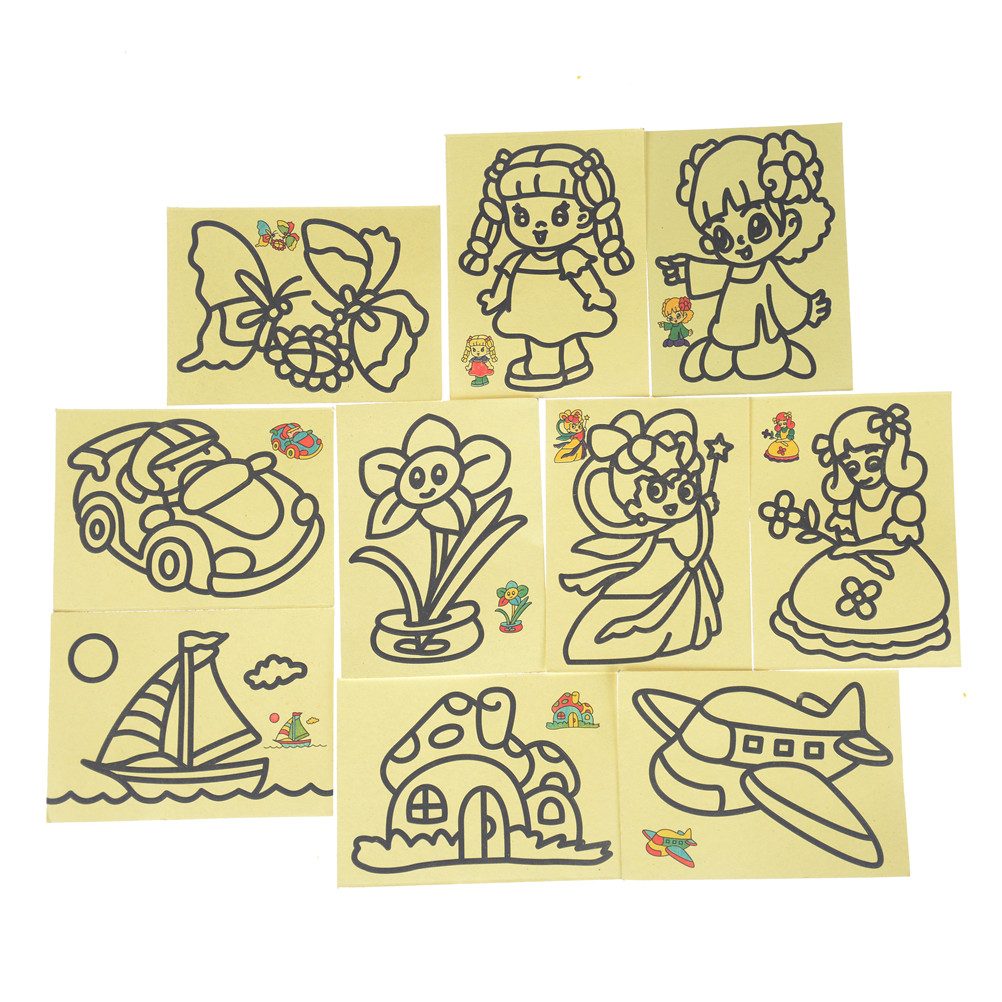 10pcs/lot Children Kids Drawing Toys Sand Painting Pictures Kid DIY Crafts Education Toy For Boys And Girls