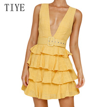 TIYE Fashion Women Sexy Deep V Neck Sleeveless Short Dress Cascading Ruffles Casual Mini Summer Vestidos Femininos