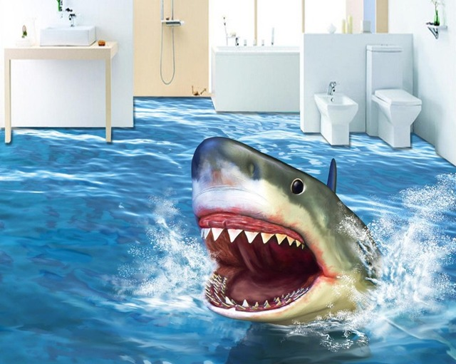 Decoration home 3d flooring bathroom terror shark wallpaper 3d wallpaper floor waterproof self for How do sharks use the bathroom