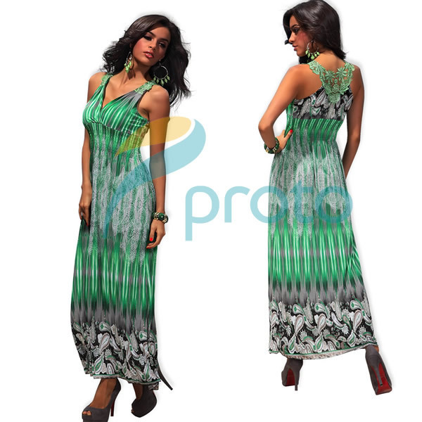 M XXL Big Size 4 Colors Freeshipping 2013 New Fashion Women Summer Bohemian Maxi Long Beach Dress Summer Casual Print Dress 4188